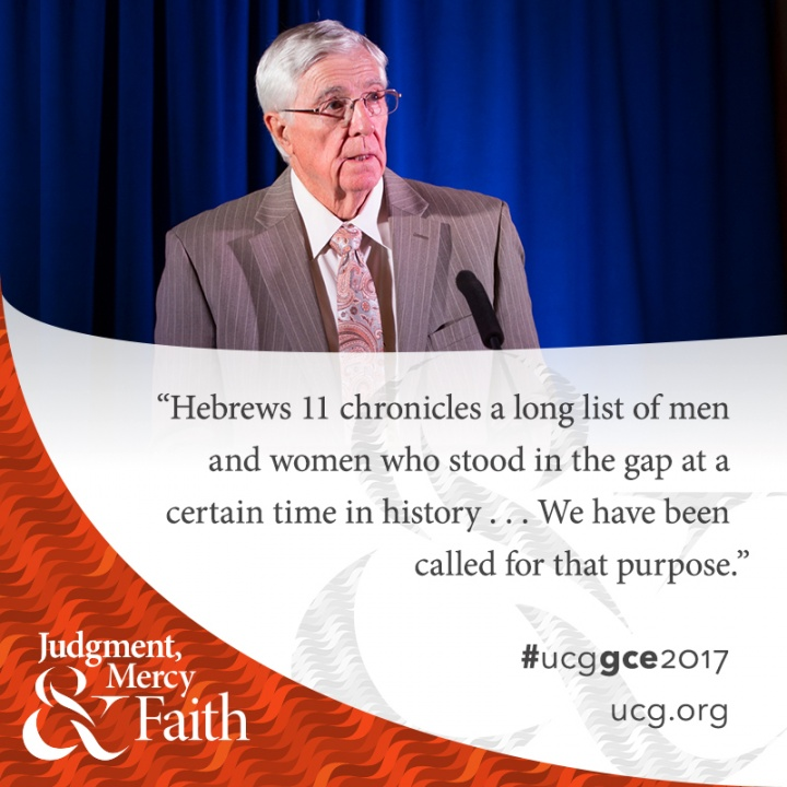Chairman Don Ward presents at the 2017 meeting of the General Conference of Elders.