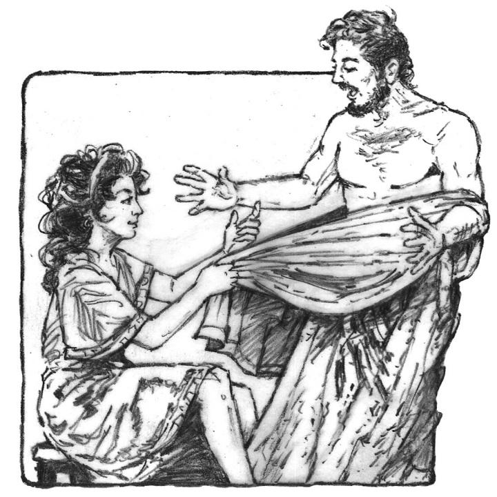 Illustration Of Joseph Fleeing From Potifars