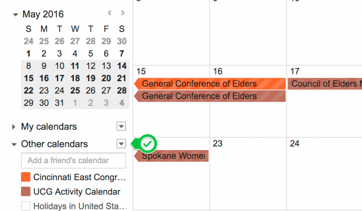 "Find the ""Other Calendars\"" tab"