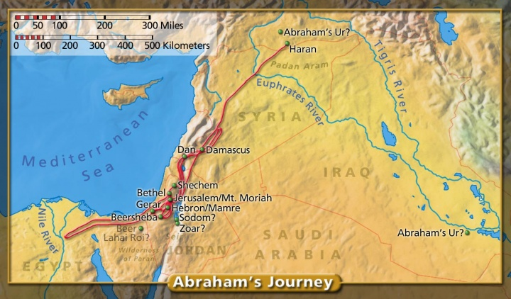 Map of Abraham's Journey