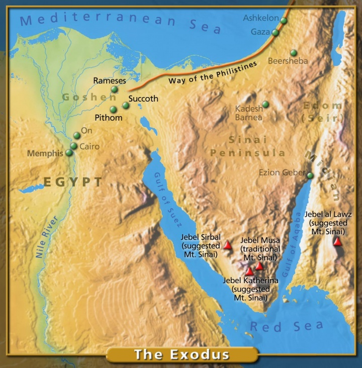 Map of possible locations for Mt. Sinai