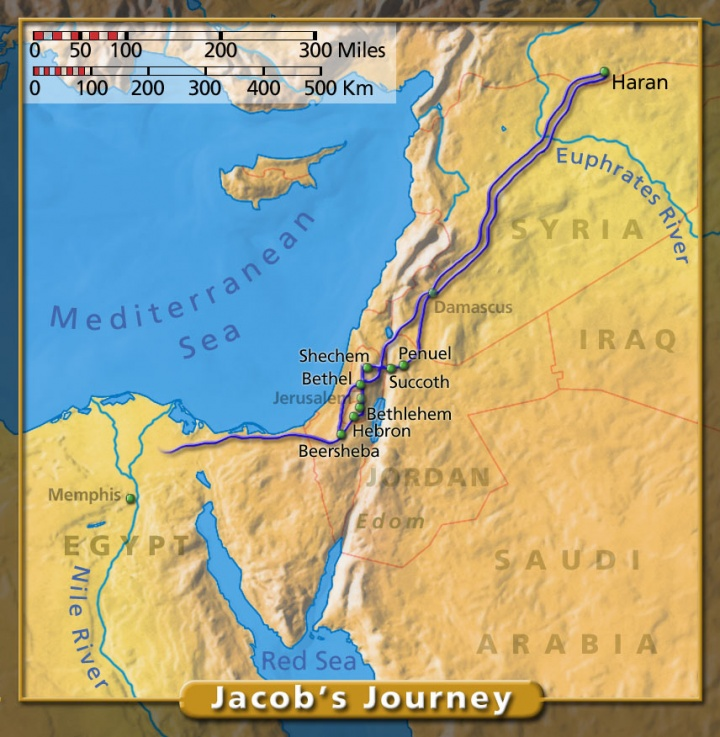 Map of Jacob's Journey