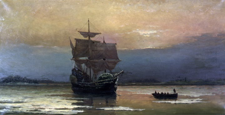 """Mayflower in Plymouth Harbor,"" by William Halsall, 1882 at Pilgrim Hall Museum, Plymouth, Massachusetts, USA"