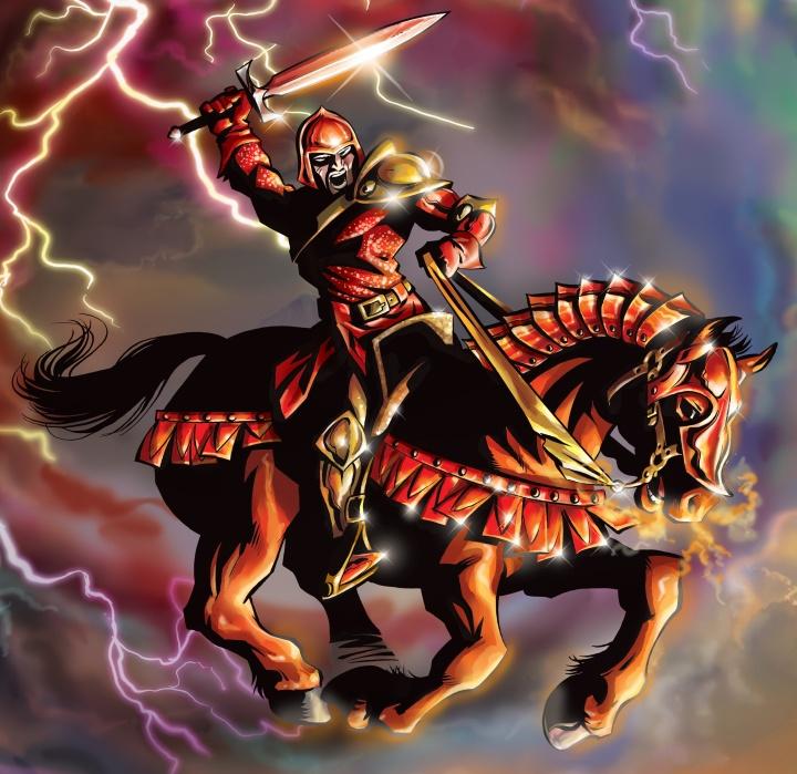 Red horse of war described in Revelation 6.