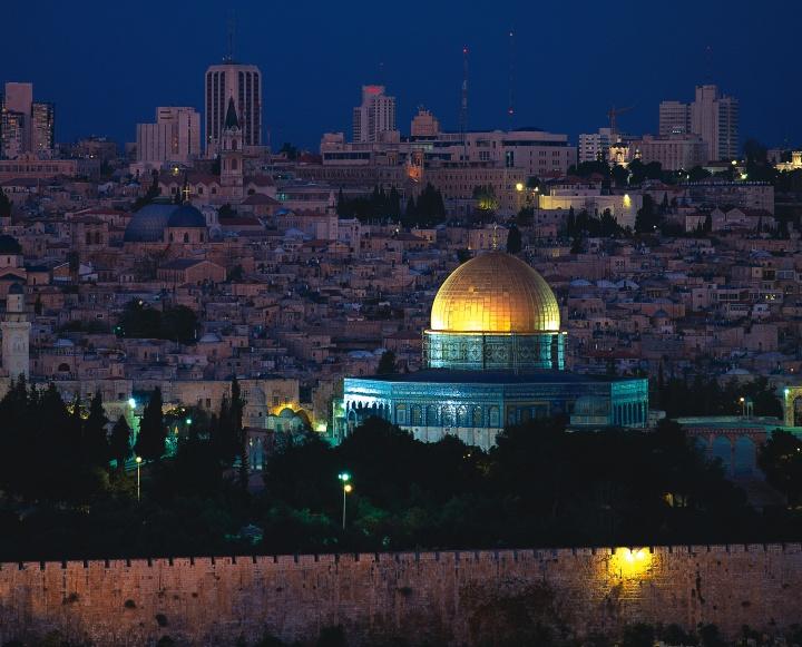 Jerusalem at night.