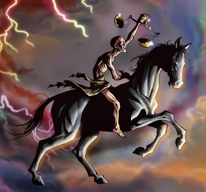 Black horse of famine described in Revelation 6.