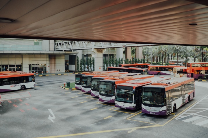 Parked buses.