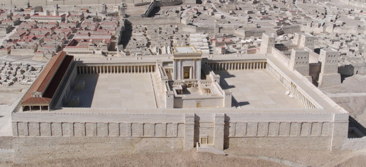 A model of Herod's Temple adjacent to the Shrine of the Book exhibit at the Israel Museum, Jerusalem.
