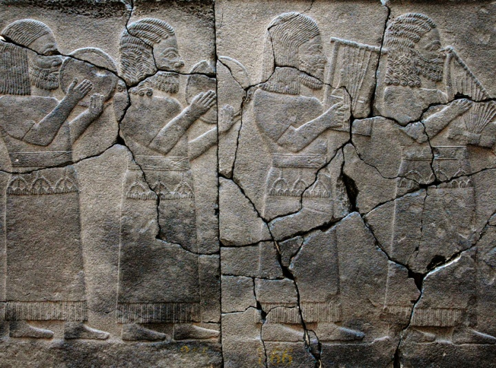 Clay tablets showing Hittite musicians.