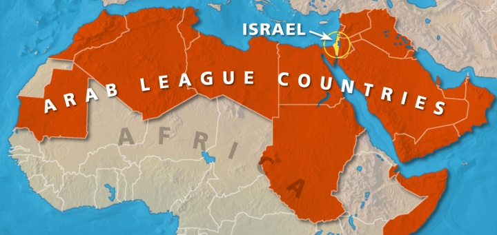Map illustrating Arab League Countries