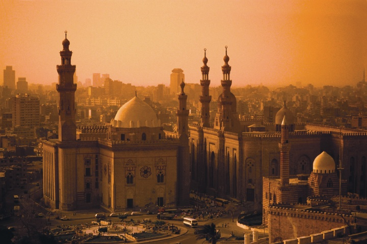 Cairo's 14th-century Mosque of Sultan Hasan, left, stands next to the 19th-century Mosque of al-Rifa'i.