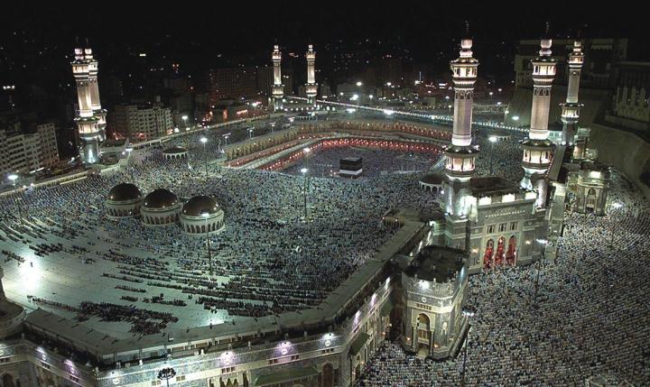 Muslim pilgrims gather around the Kaaba.