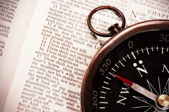 Compass on top of the Bible.