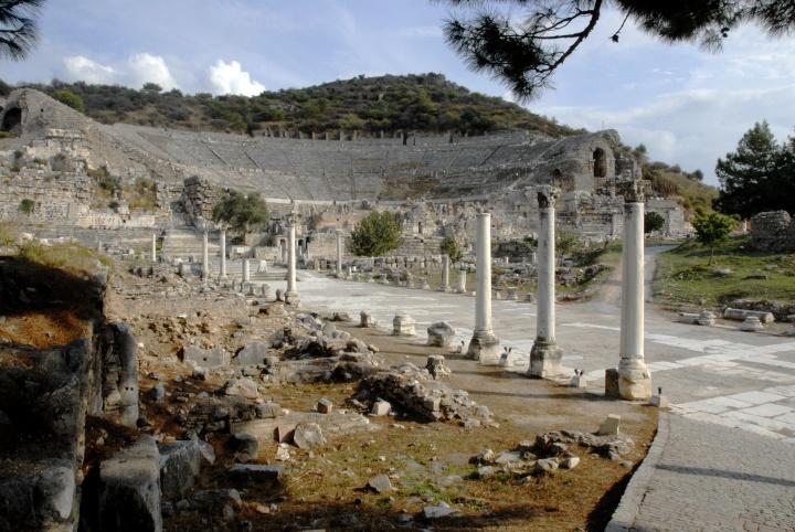 Ephesus main street and theater.