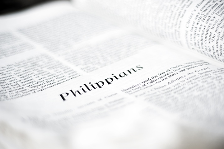 A Bible opened to the book of Philippians