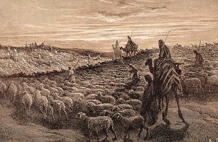 An artist's rendition of Abraham with a flock of sheep.