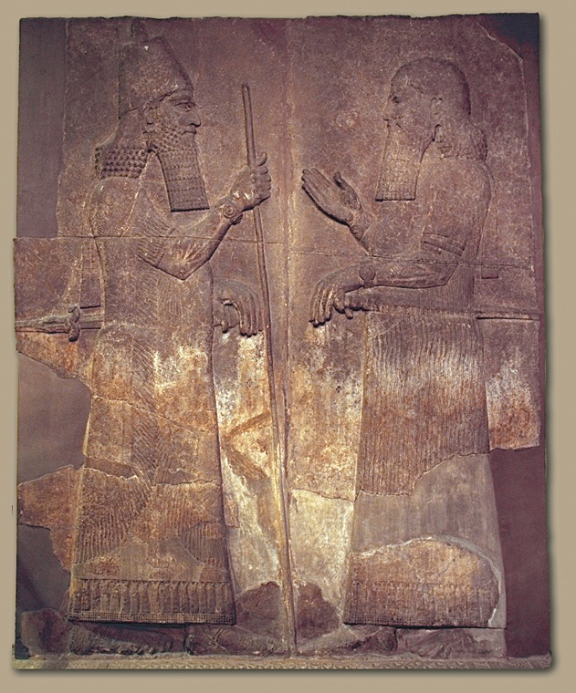 Wall mural of King Sargon of Assyria.