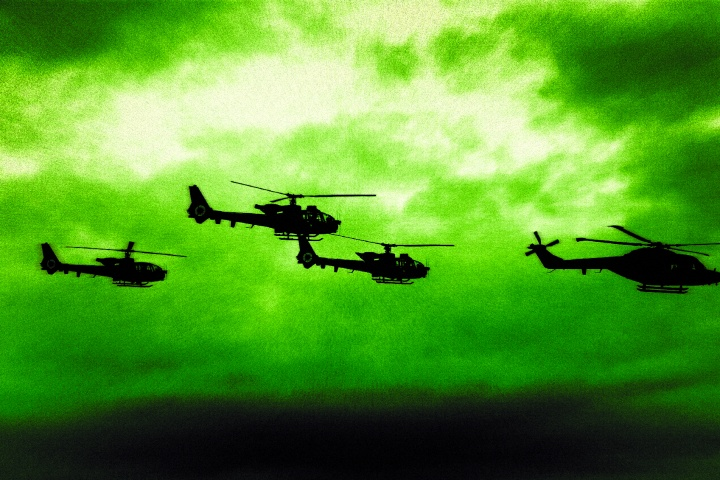 Military helicopters flying.
