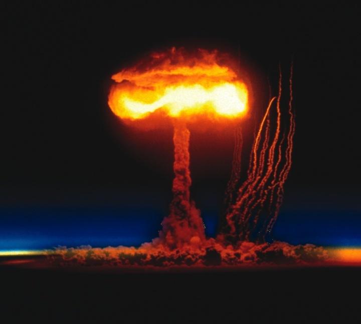 A nuclear mushroom cloud.