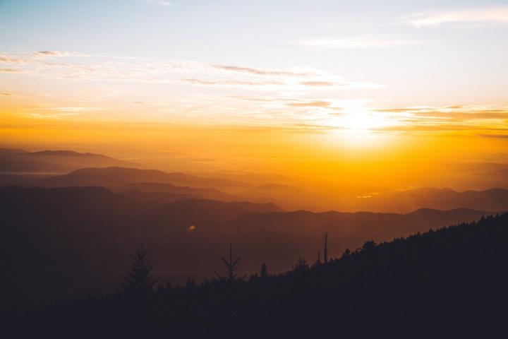 Sunset over a mountain range.