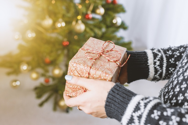 A person holding a wrapped gift in front of a Christmas tree.