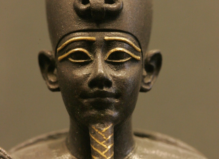 A statue of head of the Egyptian god Osiris.
