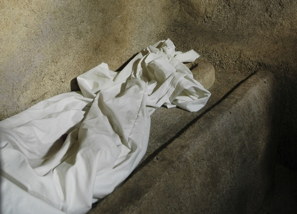 A shroud in a tomb.