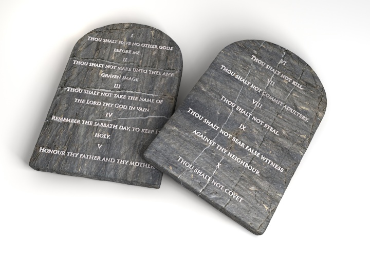 Stone tablets inscribed with the Ten Commandments.