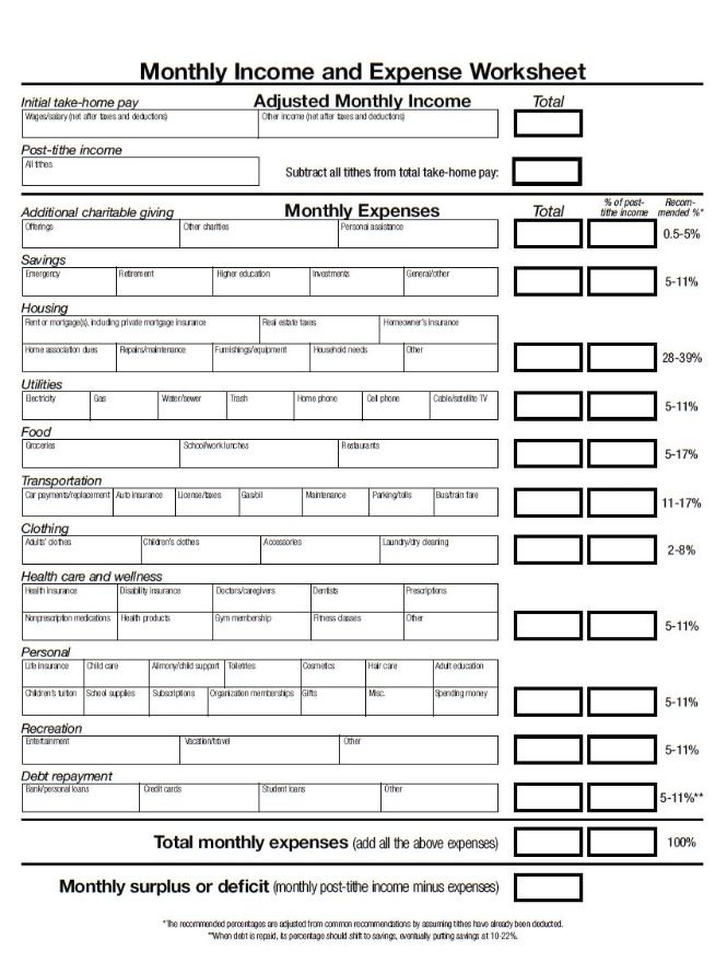Monthly income expense worksheet