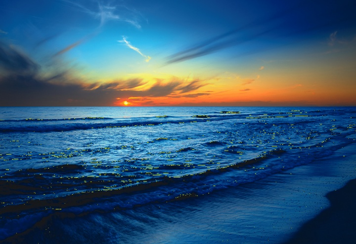Blue and orange sunrise over an ocean.