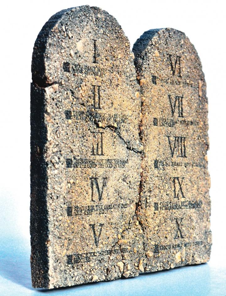 Ten Commandments on a stone tablet.