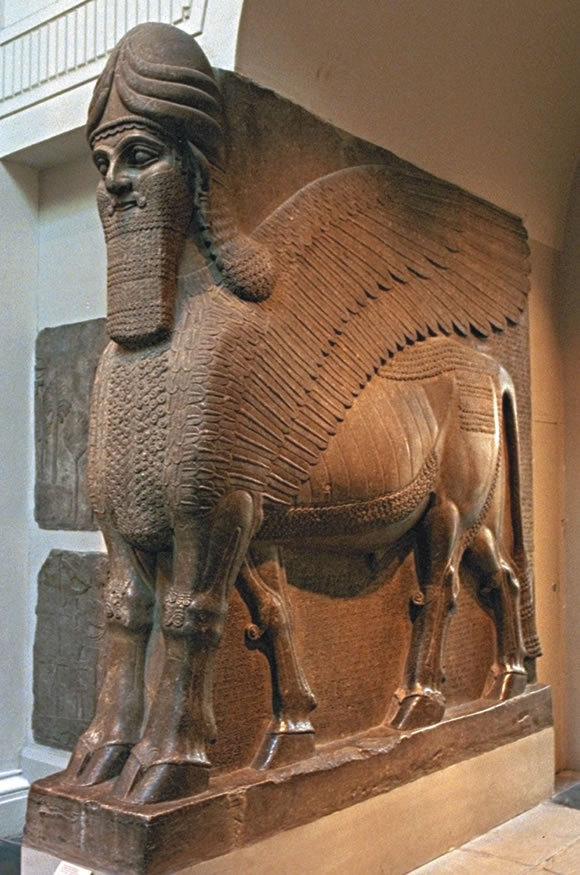 Giant winged-bull statues guarded the entrances to the palaces of Assyria's warrior kings.