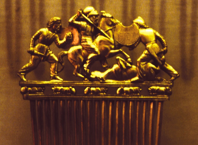 A Scythian comb made of solid gold.