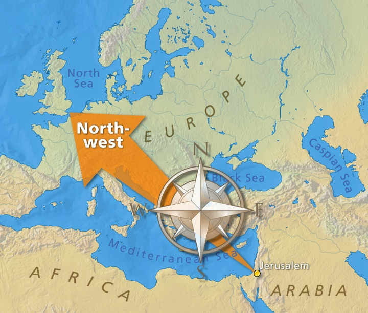 Map illustrating the migration movement of peoples from middle east to the northwest of Europe.