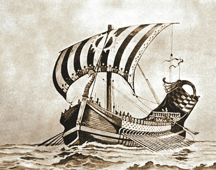 An artist's rendition of a sailing vessel.