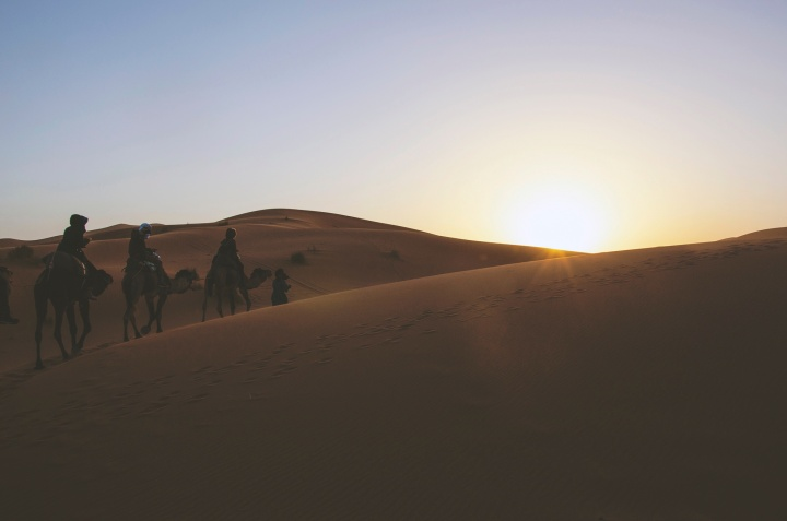 People riding camels in the desert.