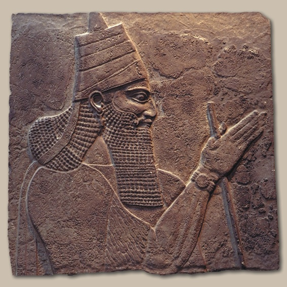 A stone carving of Assyrian King Tiglath-Pileser III.
