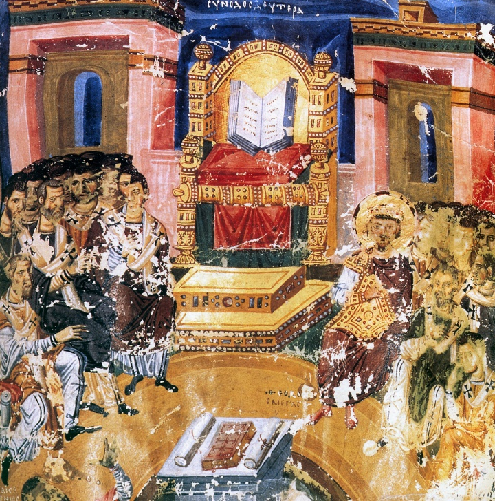 Old painting depicting first council of Constantinople.