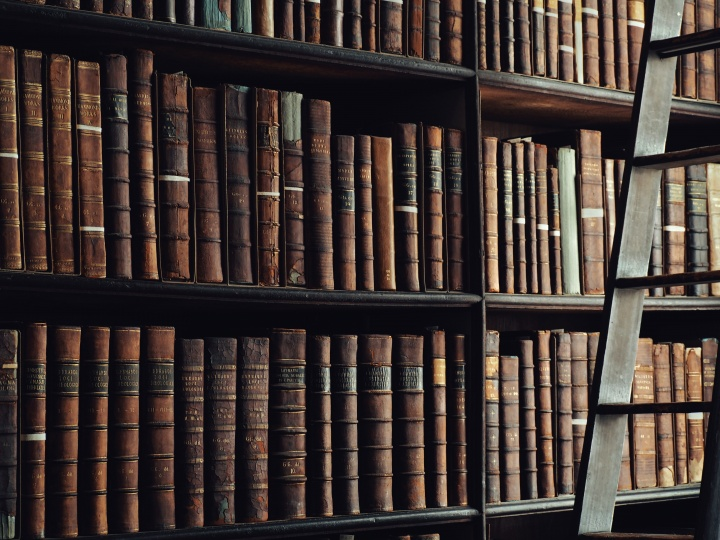 Shelves of old books.