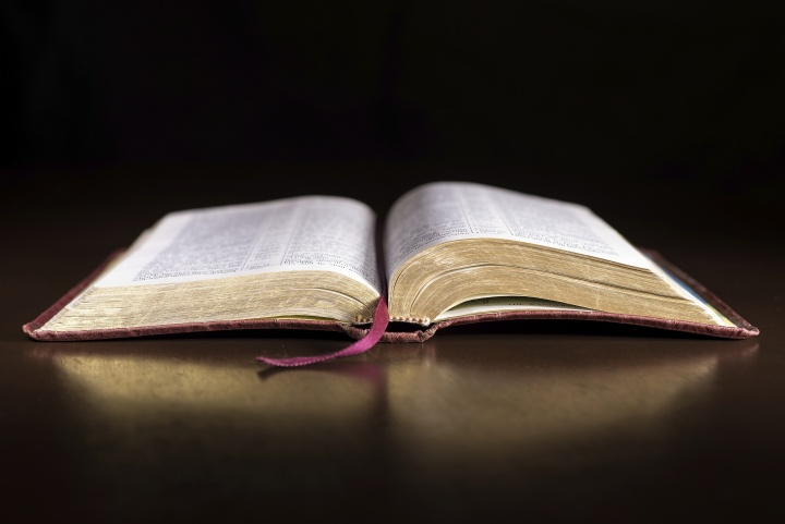 An opened Bible.