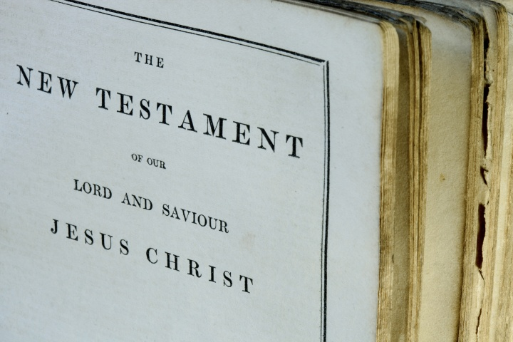 Old Bible opened to New Testament