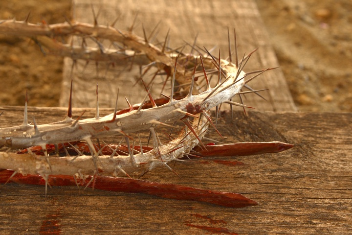 Crown of thorns and stakes.