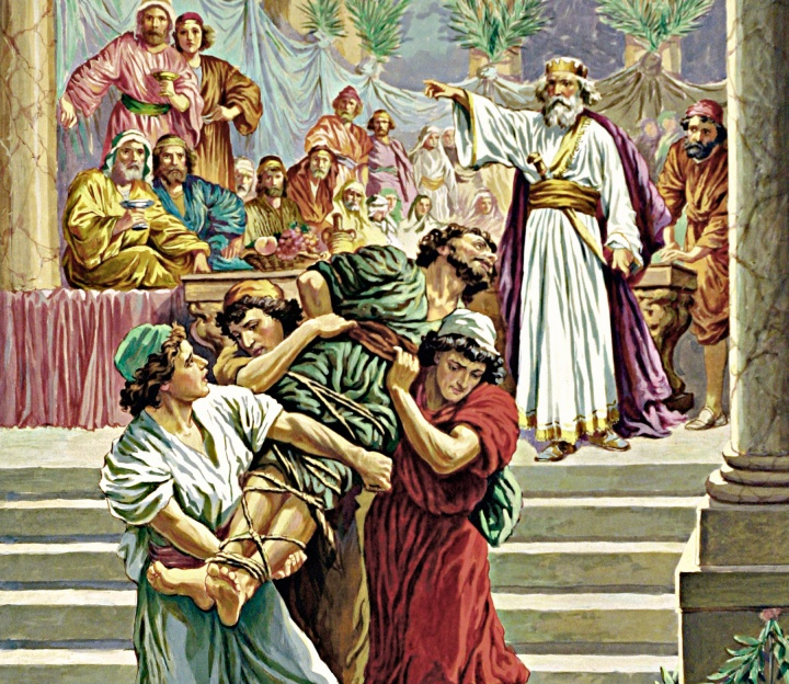 A painting illustrating a man being carried away from a wedding dinner.