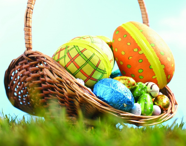 A basket with colorful Easter eggs.