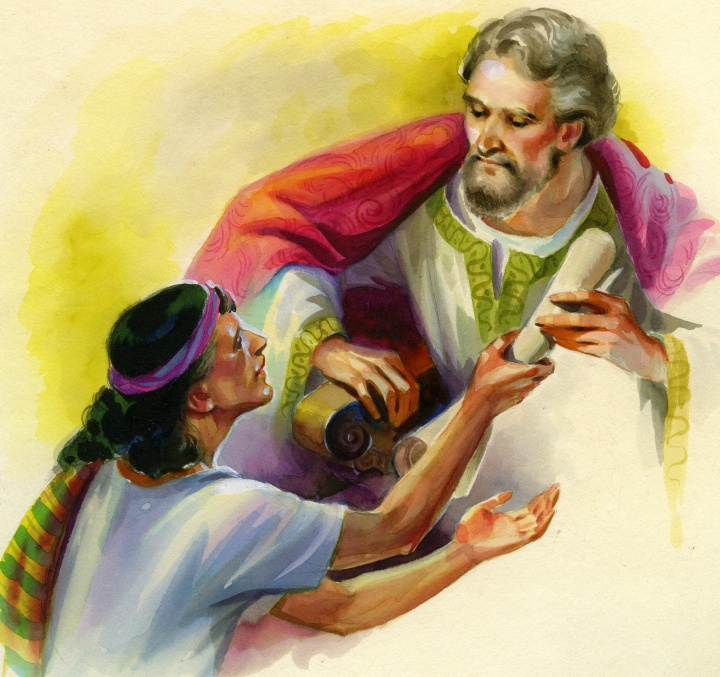 A painting illustrating Paul and Philemon.