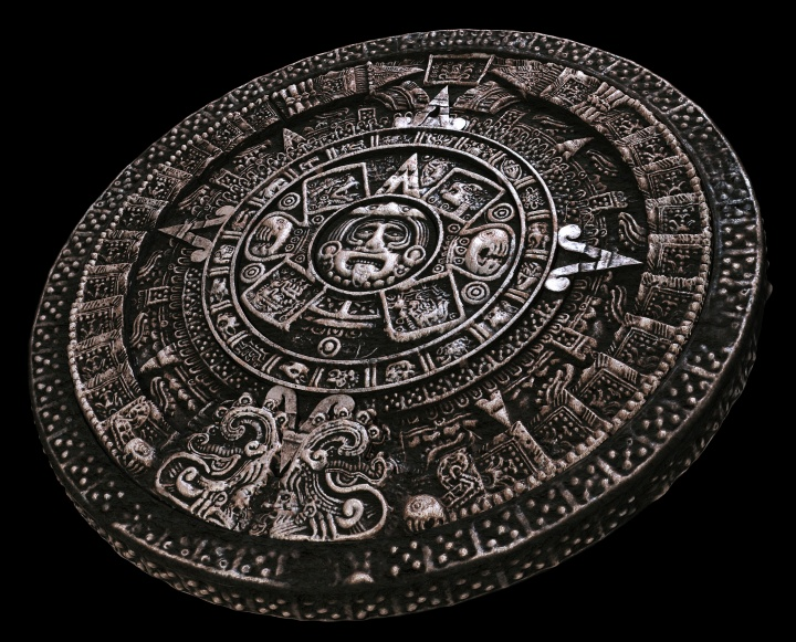 Mayan calendar on black background