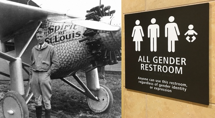 "Charles Lindbergh with the plane The Spirit of St. Louis and a ""all gender"" restroom sign in San Diego Airport."