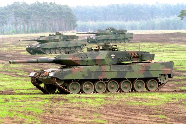 German Leopard 2 battle tanks on maneuvers.
