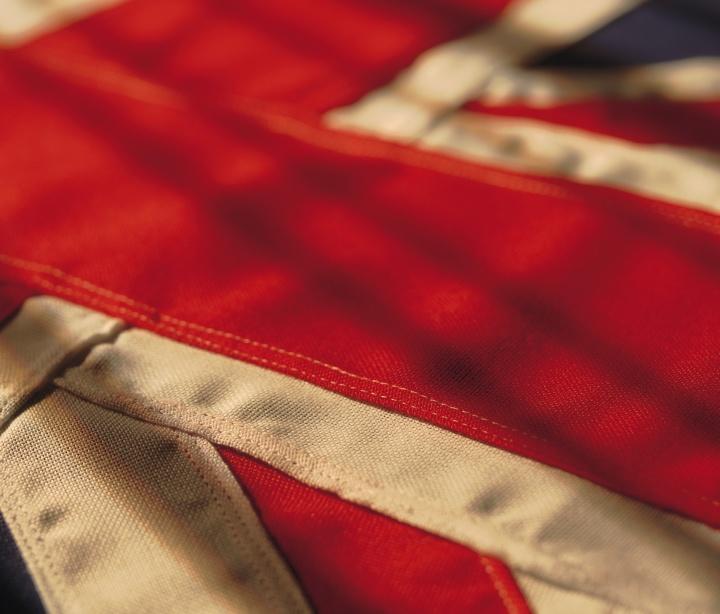 Close-up photo of the British flag