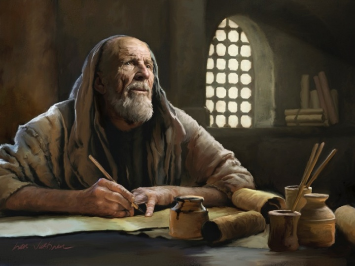 An artist's rendition of an old man writing on scrolls.